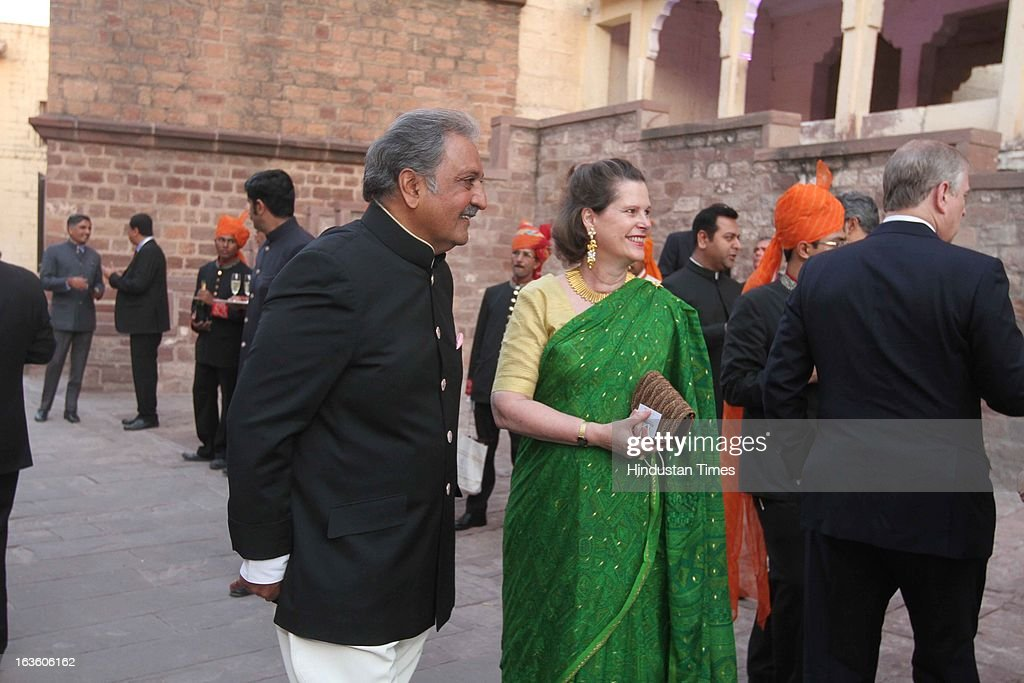 His Highness Gaj Singh II with a guest during a party at the Mehrangarh Fort on March 8, 2013 in Jodhpur, India.