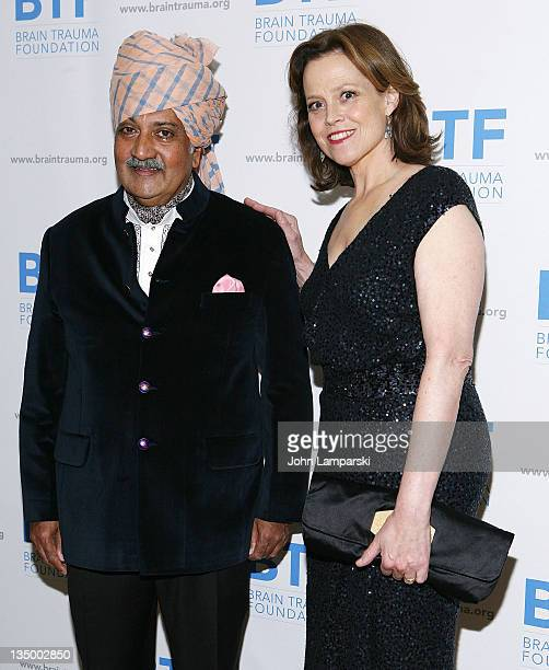 His Highness Maharaja Gaj Singh II of MarwarJodhpur and Sigourney Weaver attend the Brain Trauma Foundation 2011 gala at The Pierre Hotel on December...