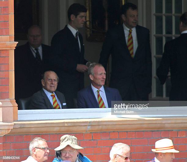 His Highness Prince Phillip The Duke of Edinburgh watches play from the committee room during day one of the 3rd Investec Test match between England...
