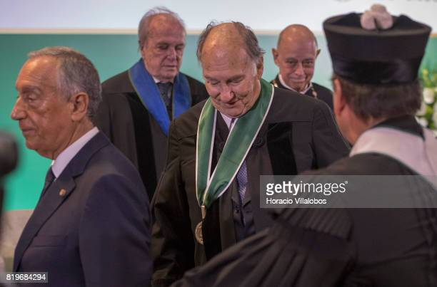 His Highness Shah Karim alHussaini Prince Aga Khan and Portuguese President Marcelo Rebelo de Sousa leave the auditorium at NOVA University of Lisbon...