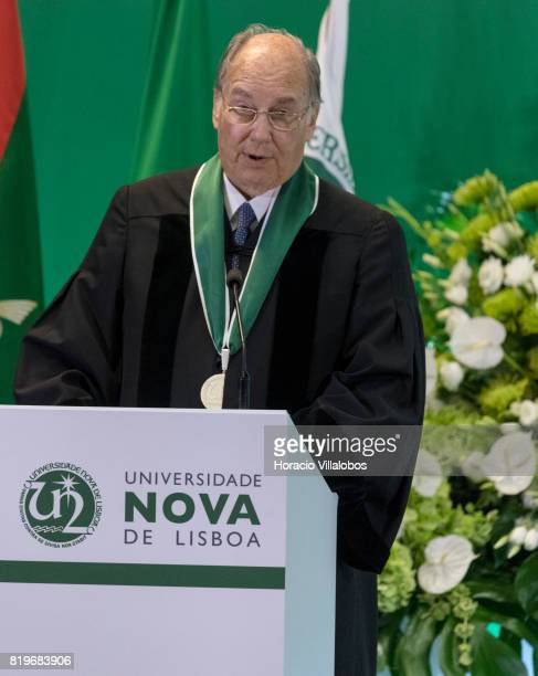 His Highness Shah Karim alHussaini Prince Aga Khan delivers remarks at NOVA University of Lisbon after having received medal and diploma during the...