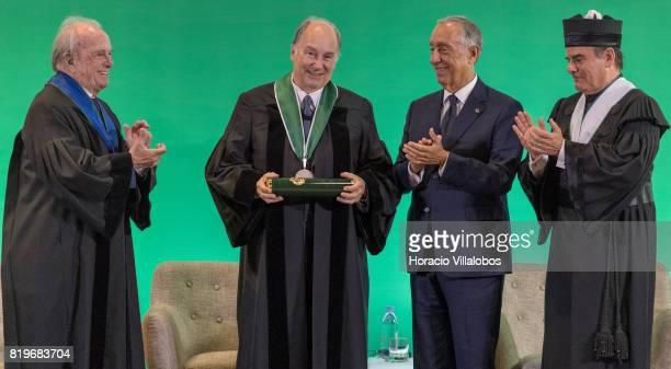 His Highness Shah Karim alHussaini Prince Aga Khan is congratulated by Former Portugal's Prime Minister Dr Francisco Pinto Balsemao Antonio Manuel...