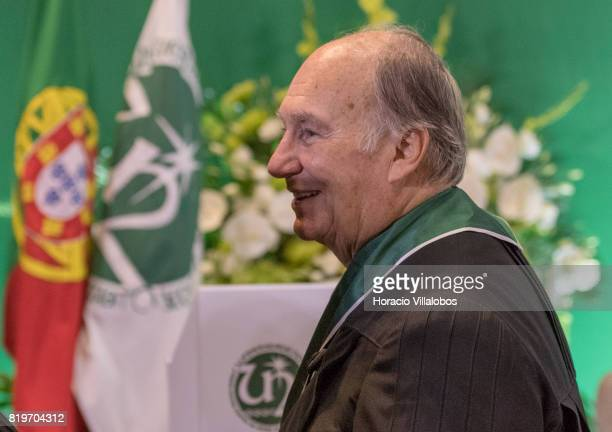 His Highness Shah Karim alHussaini Prince Aga Khan leaves the auditorium at NOVA University of Lisbon at the end of the ceremony in which Prince Aga...
