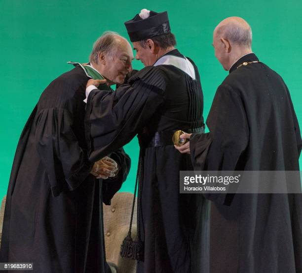 His Highness Shah Karim alHussaini Prince Aga Khan receives medal and diploma from Antonio Manuel Bensabat Rendas Rector of NOVA University of Lisbon...