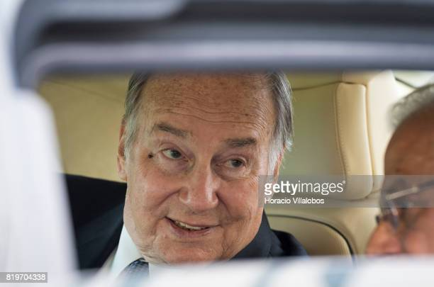 His Highness Shah Karim alHussaini Prince Aga Khan smiles from inside his car while leaving NOVA University of Lisbon at the end of the ceremony in...