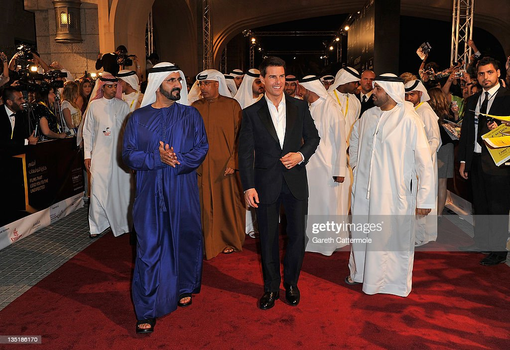 His Highness Sheikh Mohammed Bin Rashid Al Maktoum and actor Tom Cruise attend the 'Mission Impossible Ghost Protocol' Premiere during day one of the...