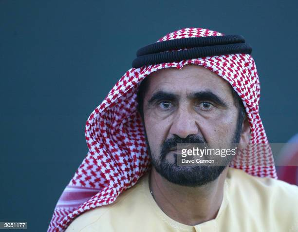 His Highness Sheikh Mohammed Bin Rashid Al Maktoum the Defence Minister and Crown Prince of Dubai smiles after the final round of the Dubai Desert...