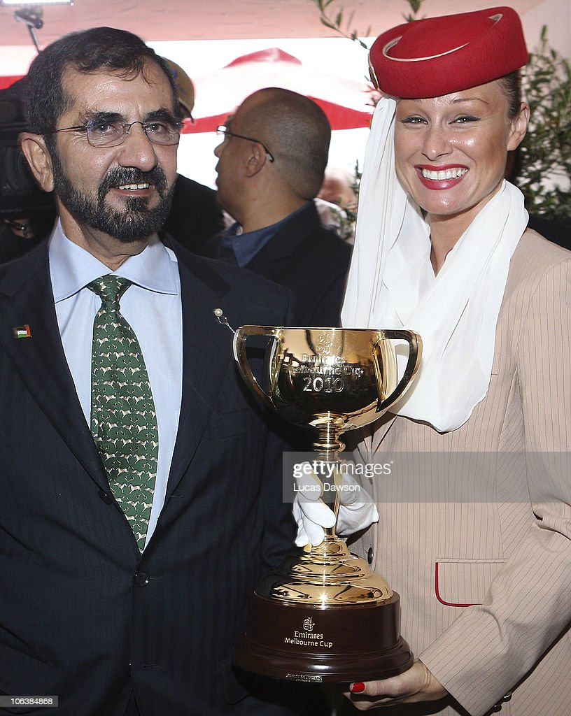 His Highness Sheikh Mohammed Bin Rashid Al Maktoum UAE Vice President and Prime Minister and Ruler of Dubai arrives at AAMI Victoria Derby Day at...
