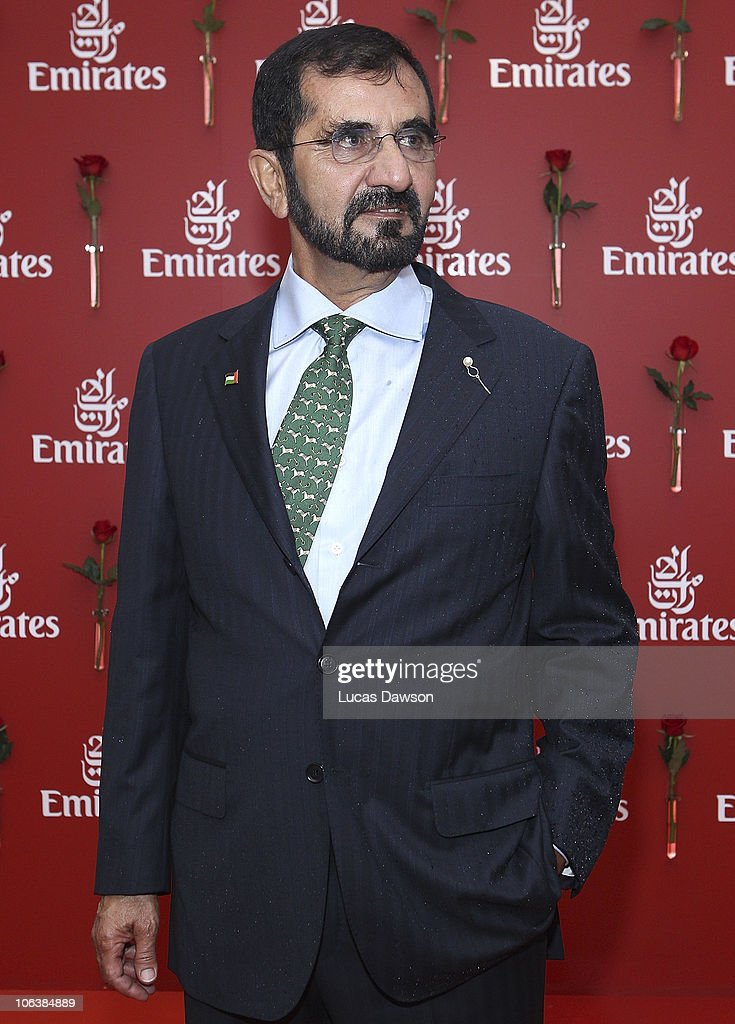 His Highness Sheikh <a gi-track='captionPersonalityLinkClicked' href=/galleries/search?phrase=Mohammed+Bin+Rashid+Al+Maktoum&family=editorial&specificpeople=658741 ng-click='$event.stopPropagation()'>Mohammed Bin Rashid Al Maktoum</a>, UAE Vice President and Prime Minister and Ruler of Dubai arrives at AAMI Victoria Derby Day at Flemington Racecourse on October 30, 2010 in Melbourne, Australia.