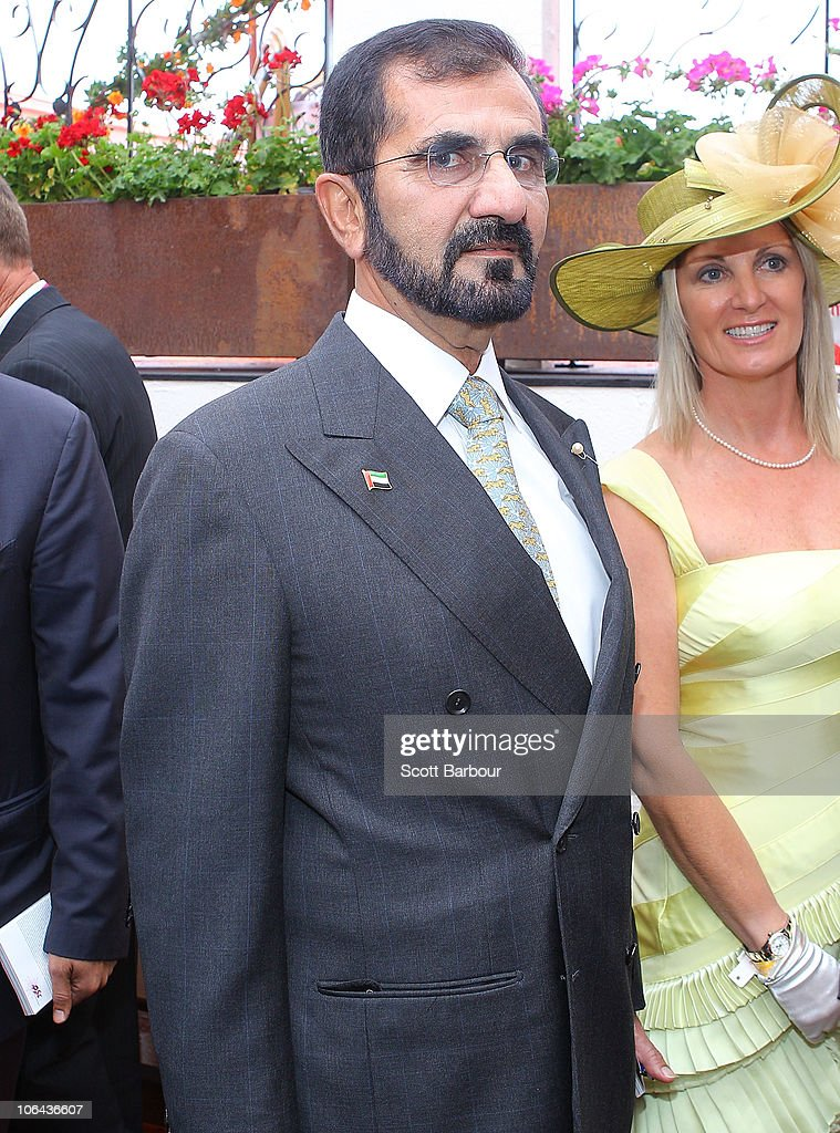 His Highness Sheikh <a gi-track='captionPersonalityLinkClicked' href=/galleries/search?phrase=Mohammed+Bin+Rashid+Al+Maktoum&family=editorial&specificpeople=658741 ng-click='$event.stopPropagation()'>Mohammed Bin Rashid Al Maktoum</a>, UAE Vice President and Prime Minister and Ruler of Dubai attends the Emirates marquee during Emirates Melbourne Cup Day at Flemington Racecourse on November 2, 2010 in Melbourne, Australia.
