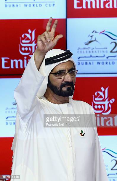 His Highness Sheikh Mohammed bin Rashid Al Maktoum Vice President and Prime Minister of the UAE and Ruler of Dubai reacts after Prince Bishop ridden...