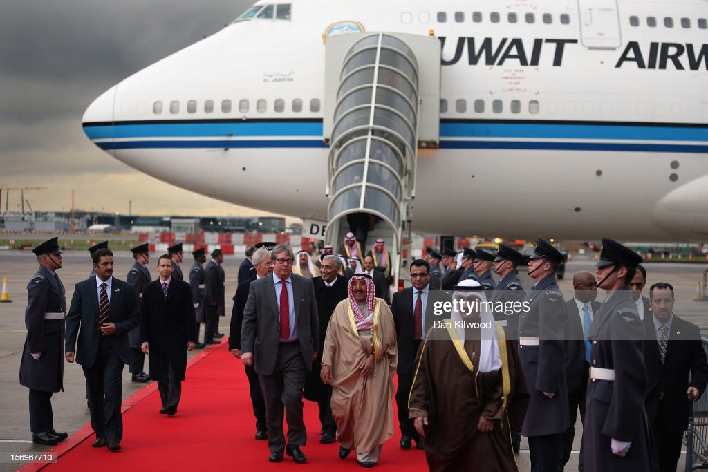 His Highness the Amir Sheikh Sabah Al-Ahmad Al-Jaber Al-Sabah of Kuwait arrives at Heathrow Airport on November 26, 2012 in London, England. The Amir of Kuwait begins his three-day state visit to the UK today during which he is due to meet Queen Elizabeth II at Buckingham Palace.