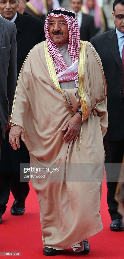 His Highness the Amir Sheikh Sabah AlAhmad AlJaber AlSabah of Kuwait arrives at Heathrow Airport on November 26 2012 in London England The Amir of...
