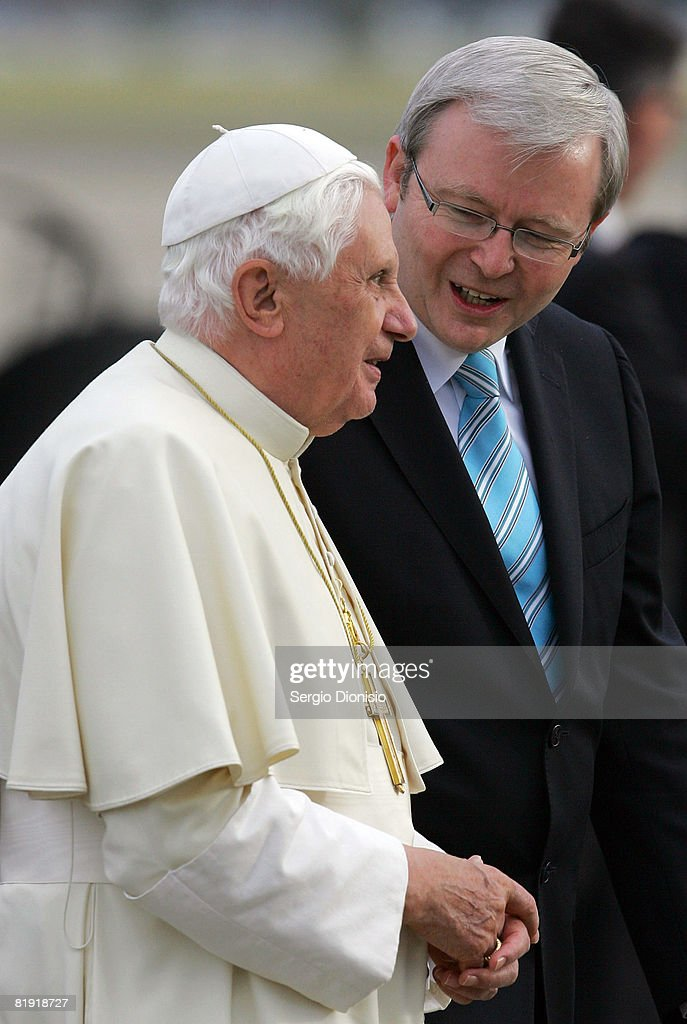 His Holiness Pope Benedict XVI speaks with Australian Prime Minister Kevin Rudd following his arrival in Australia ahead of World Youth Day 2008 at Richmond RAAF Base on July 13, 2008 in Sydney, Australia. The Holy Father will spend the days following his arrival relaxing at the Kenthurst Study Centre Papal Retreat in the Blue Mountain region, before His official welcome on July 17. Organised every two to three years by the Catholic Church, World Youth Day (WYD) is an invitation from the Pope to the youth of the world to celebrate their faith. The celebration, being held in Sydney from July 15 to July 20, 2008, will mark the first visit of His Holiness Pope Benedict XVI to Australia.