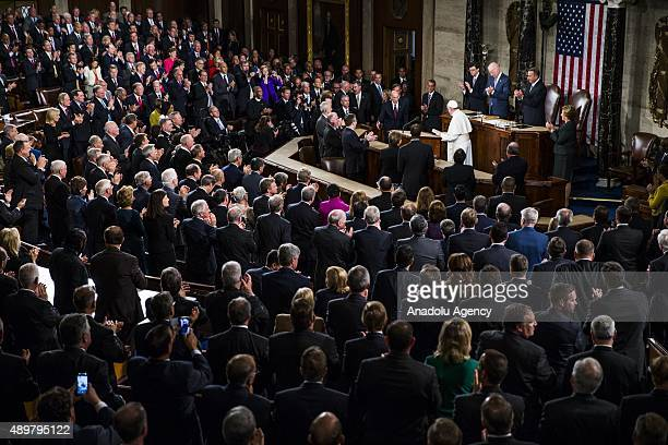 His Holiness Pope Francis is given a standing ovation after speaking to a joint session of the United States Congress at the US Capitol in Washington...