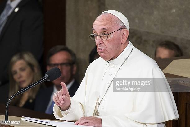 His Holiness Pope Francis speaks to a joint session of the United States Congress at the US Capitol in Washington USA on September 24 2015