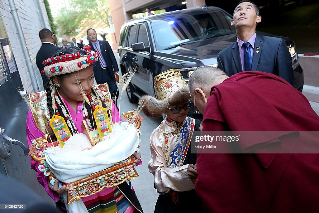 His Holiness the 14th Dalai Lama arrives to speak to an 'Audience To The Tibetan Community' at Boulder Theatre on June 24, 2016 in Boulder, Colorado.