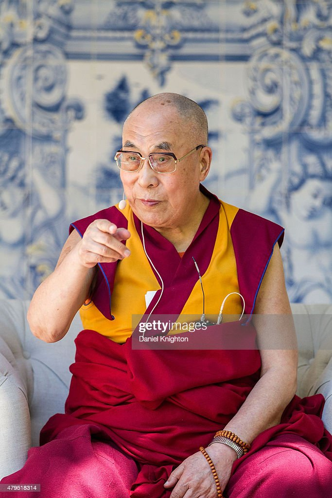 His Holiness The 14th Dalai Lama speaks on stage at Peak Mind Foundation's celebration at Rancho Las Lomas on July 4, 2015 in Silverado Canyon, California.