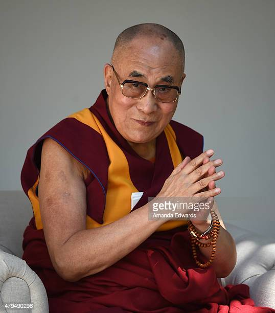 His Holiness the 14th Dalai Lama speaks onstage at the Peak Mind Foundation's event at Rancho Las Lomas on July 4 2015 in Silverado Canyon California