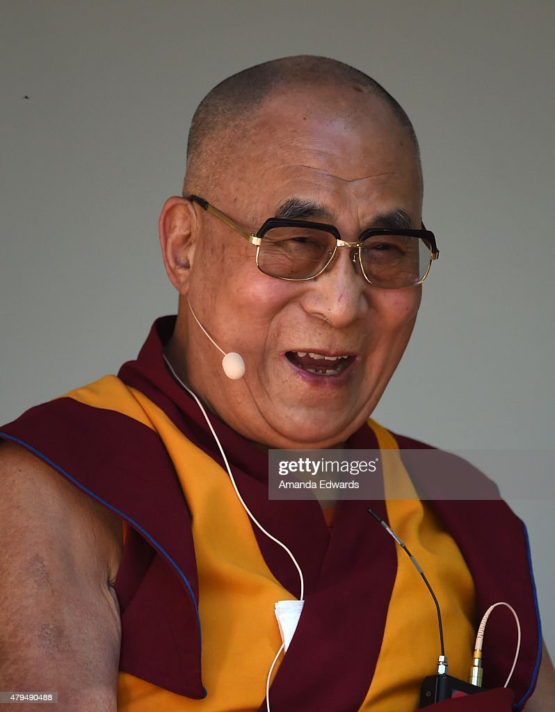 His Holiness the 14th Dalai Lama speaks onstage at the Peak Mind Foundation's celebration at Rancho Las Lomas on July 4, 2015 in Silverado Canyon, California.