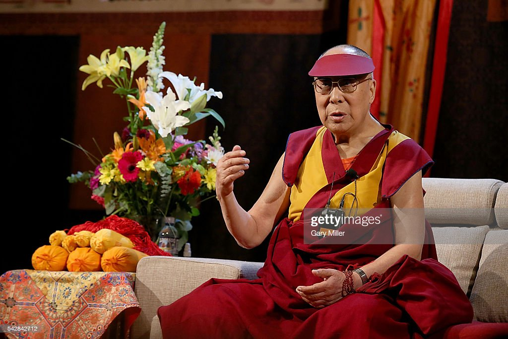 His Holiness the 14th Dalai Lama <a gi-track='captionPersonalityLinkClicked' href=/galleries/search?phrase=Tenzin+Gyatso&family=editorial&specificpeople=14698064 ng-click='$event.stopPropagation()'>Tenzin Gyatso</a> speaks to followers during an 'Audience To The Tibetan Community' at Boulder Theatre on June 24, 2016 in Boulder, Colorado.
