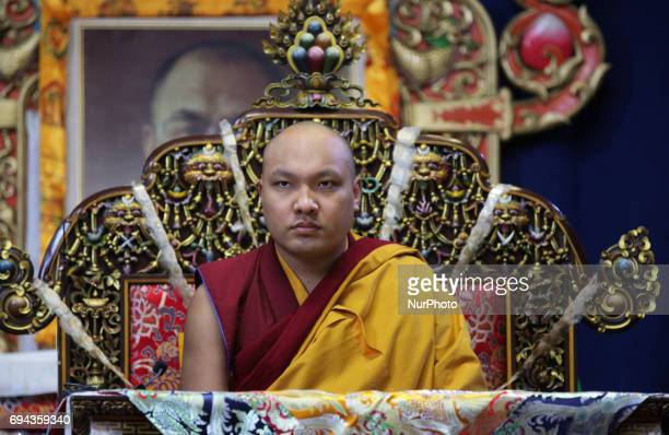 His Holiness the 17th Gyalwang Karmapa Ogyen Trinley Dorje performs prayers during a special ceremony at the Tibetan Canadian Cultural Center in...