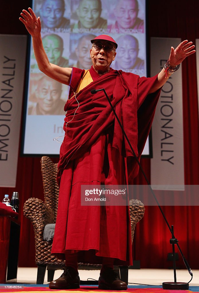 His Holiness the Dalai Lama addresses guests during a public talk at Sydney Entertainment Centre on June 16, 2013 in Sydney, Australia. The Dalai Lama is in Australia for ten days, holding ticketed events for the public.