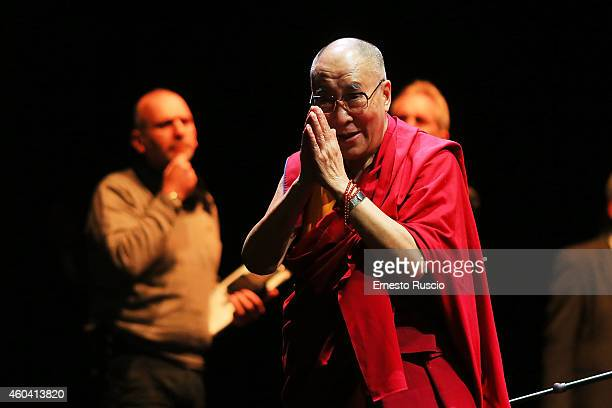 His Holiness the Dalai Lama attends the 14th World Summit of Nobel Peace Laureates at Auditorium Parco Della Musica on December 13 2014 in Rome Italy