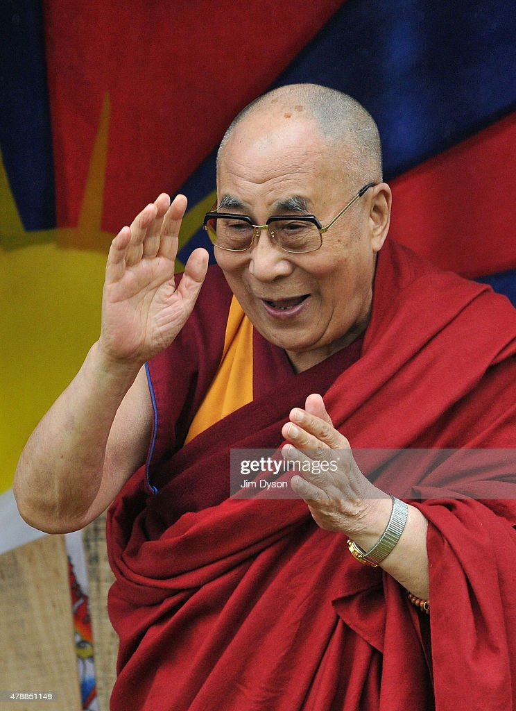 His holiness the Dalai Lama attends the third day of Glastonbury Festival at Worthy Farm, Pilton on June 28, 2015 in Glastonbury, England.