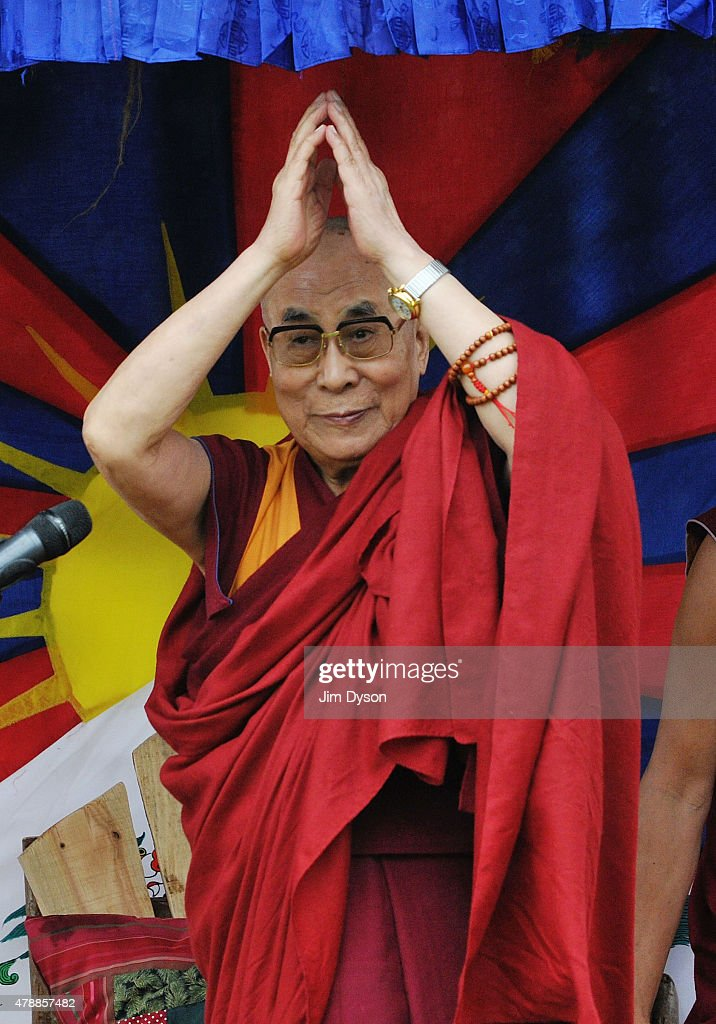 His holiness the Dalai Lama gives a talk during the third day of Glastonbury Festival at Worthy Farm, Pilton on June 28, 2015 in Glastonbury, England.