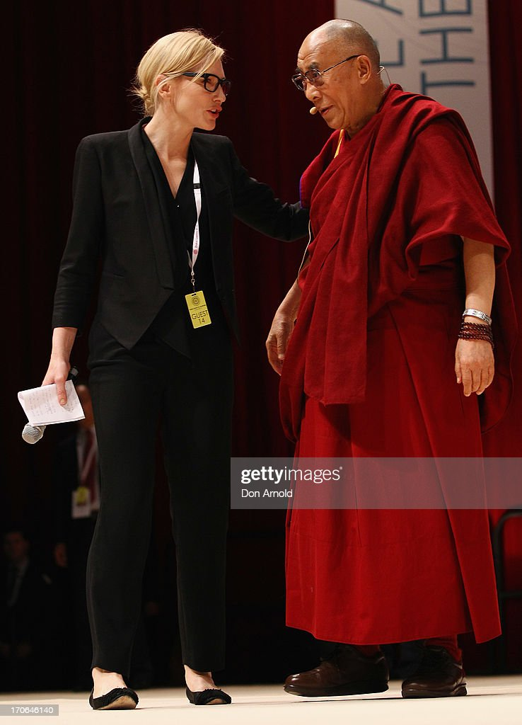 His Holiness the Dalai Lama greets <a gi-track='captionPersonalityLinkClicked' href=/galleries/search?phrase=Cate+Blanchett&family=editorial&specificpeople=201621 ng-click='$event.stopPropagation()'>Cate Blanchett</a> on June 16, 2013 in Sydney, Australia. The Dalai Lama is in Australia for ten days, holding ticketed events for the public.