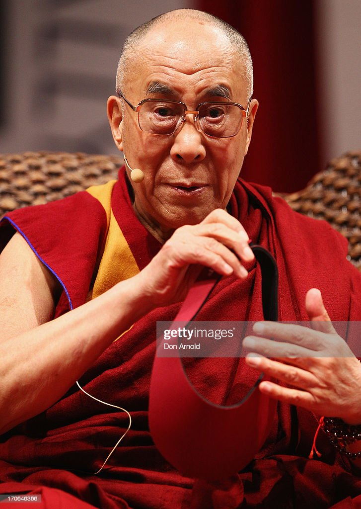 His Holiness the Dalai Lama is introduced during a public talk at Sydney Entertainment Centre on June 16, 2013 in Sydney, Australia. The Dalai Lama is in Australia for ten days, holding ticketed events for the public.
