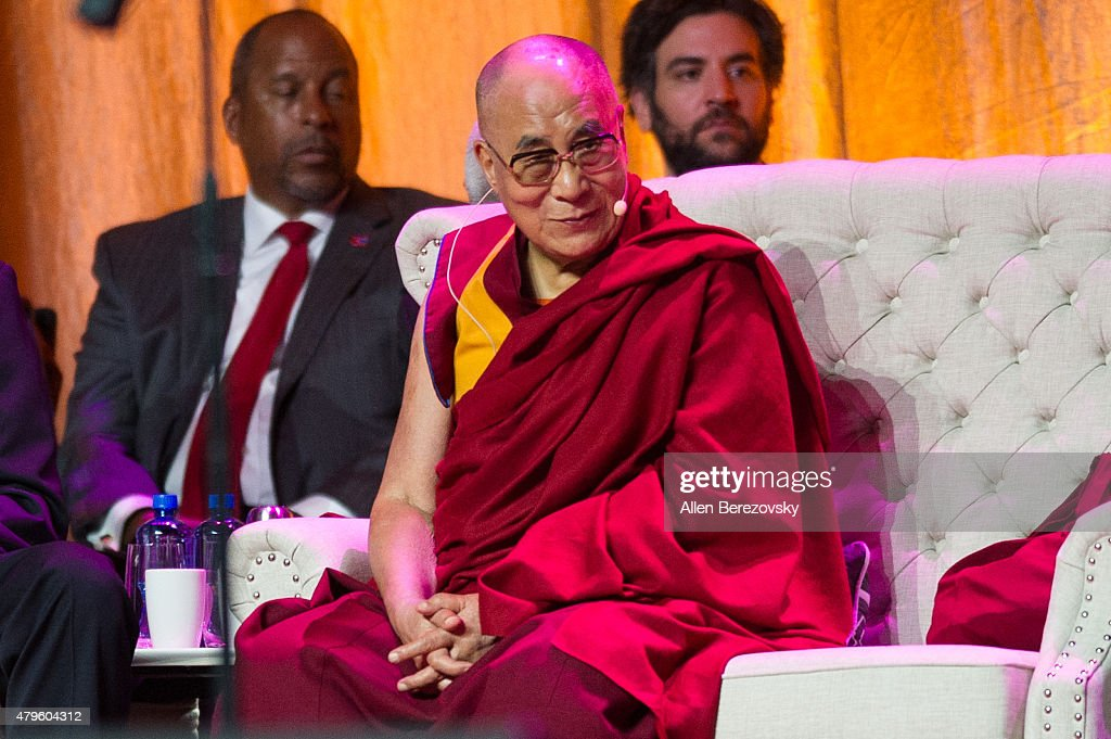 His Holiness the Dalai Lama sits onstage during his 80th birthday celebration and Global Compassion Summit at Honda Center on July 5, 2015 in Anaheim, California.