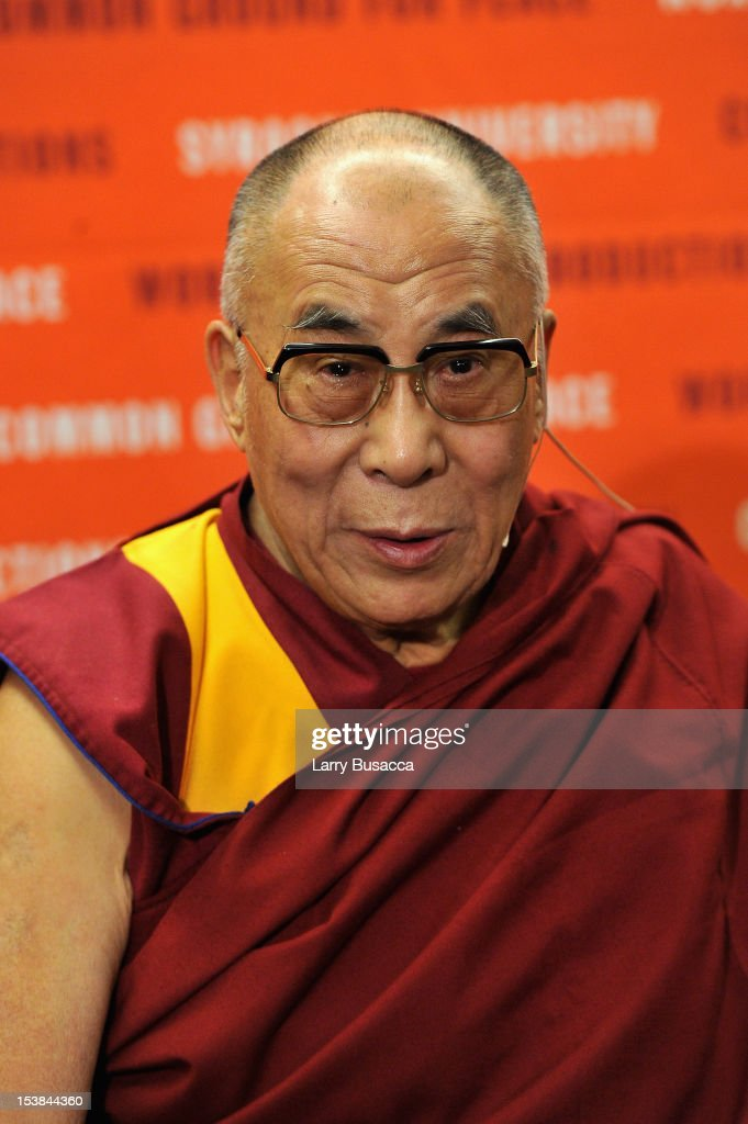 His Holiness the Dalai Lama speaks at the One World Concert at Syracuse University on October 9 2012 in Syracuse New York