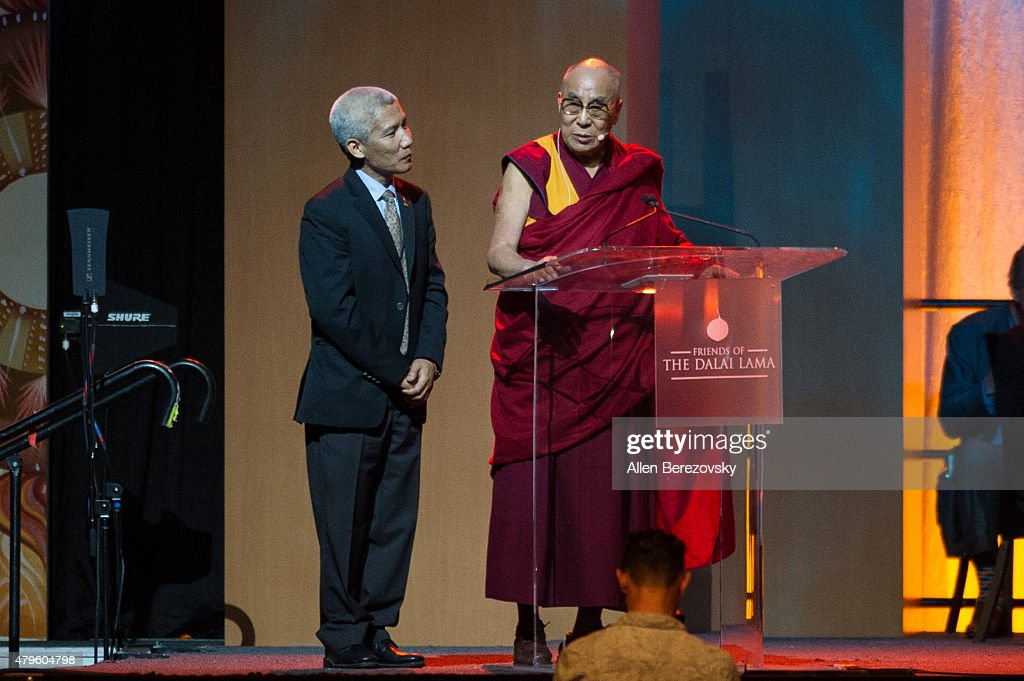 His Holiness the Dalai Lama speaks onstage during his 80th birthday celebration and Global Compassion Summit at Honda Center on July 5, 2015 in Anaheim, California.