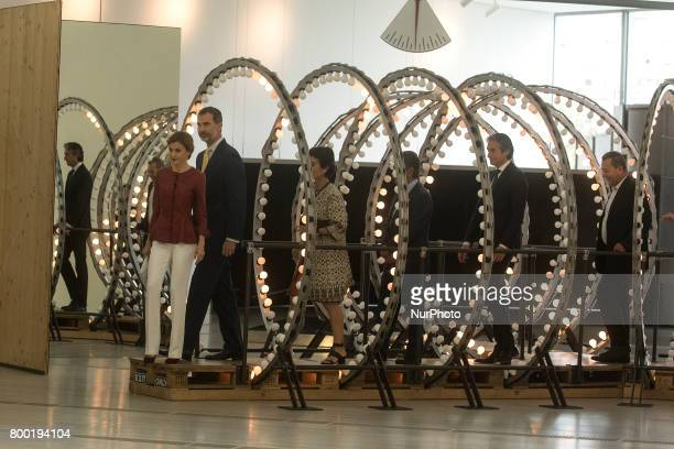 His Majesties the kings of Spain Felipe VI and Letizia go through the installation of light bulbs of the Belgian artist Carsten Holler in his visit...