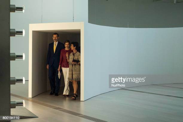 His Majesties the kings of Spain Felipe VI and Letizia watch the installation of bulbs of the Belgian artist Carsten Holler in his visit to the new...