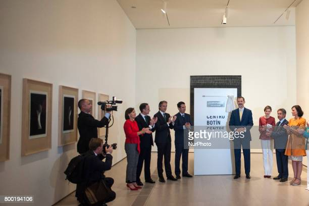 His Majesties the kings of Spain Philip VI and Letizia discover a plaque commemorating their visit to the new Botin Center of arts and culture that...