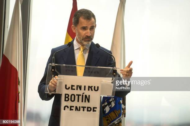 His Majesty Felipe VI addresses the public before his visit to the new Botin Center of arts and culture that opens today Santander