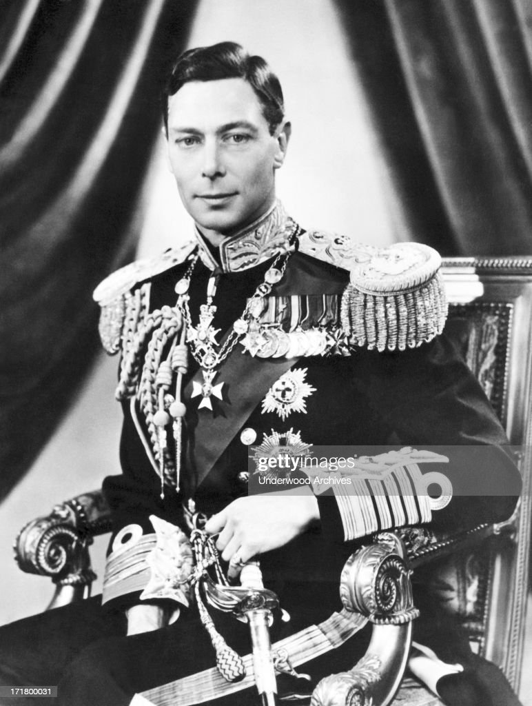 His Majesty King George VI, wearing his uniform as Admiral of the Fleet, London, England, May 4, 1937. He served as a gunner during World War I at the Battle of Jutland.