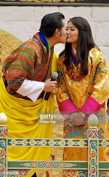 His Majesty King Jigme Khesar Namgyel Wangchuck kisses Her Majesty Queen Ashi Jetsun Pema Wangchuck at the Chang Lime Thang stadium on October 15...