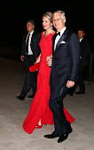 His Royal Highness Philippe King Of Belgium and Her Royal Highness Mathilde Queen Of Belgium arrive at the reception dinner held in honour of the...