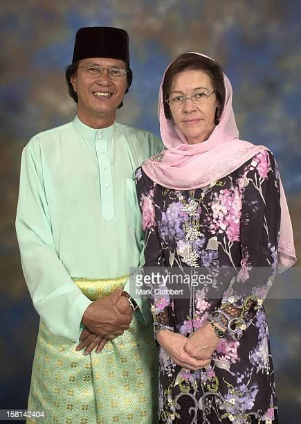 His Royal Highness Prince Haji AlMuhtadee Billah The Crown Prince Of Brunei Darussalam And Dayangku Sarah Binti Pengiran Salleh Ab Rahaman With Her...