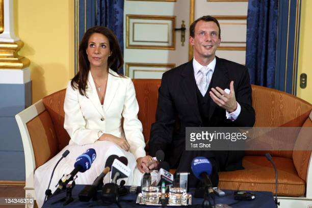 His Royal Highness Prince Joachim of Denmark announces his engagement to Miss Marie Cavallier during a press conference at the Riddersalen of the...