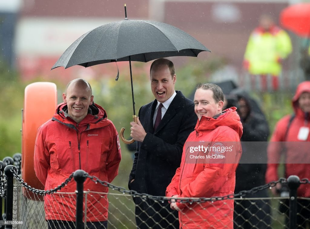 His Royal Highness Prince William, the Duke of Cambridge laughs as he is shown a rescue demonstration by the Quayside Response, Lifeboat and Rescue teams as he visits the Titanic Quarter during His Royal Highness' one day visit to the province on October 4, 2017 in Belfast, Northern Ireland. His Royal Highness is on a one day visit to the province.