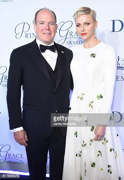 His Serene Highness Prince Albert II of Monaco and Her Serene Highness Princess Charlene of Monaco attend the 2016 Princess Grace awards gala at...