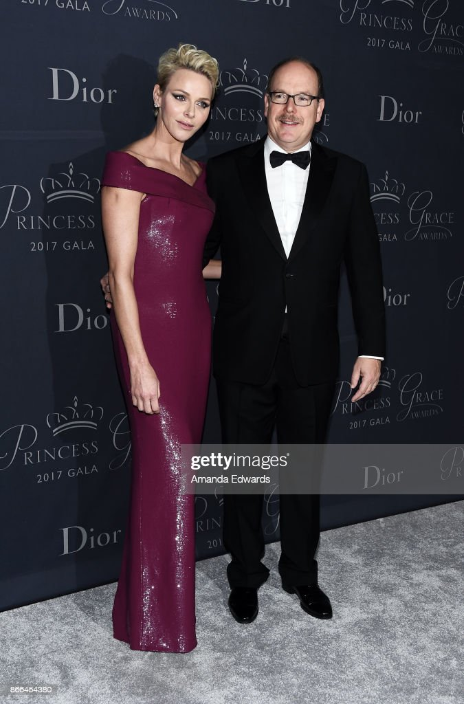His Serene Highness Prince Albert II of Monaco (R) and Her Serene Highness Princess Charlene of Monaco arrive at the 2017 Princess Grace Awards Gala at The Beverly Hilton Hotel on October 25, 2017 in Beverly Hills, California.