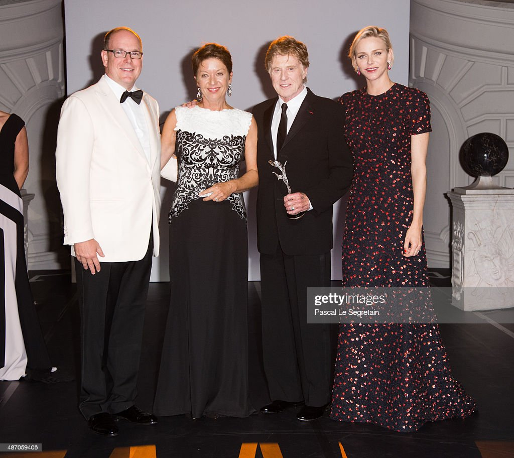 His Serene Highness Prince Albert II of Monaco, Sibylle Szaggars Redford, Robert Redford and Her Serene Highness Princess Charlene of Monaco attend the 2015 Princess Grace Awards Gala With Presenting Sponsor Christian Dior Couture at Monaco Palace on September 5, 2015 in Monte-Carlo, Monaco.