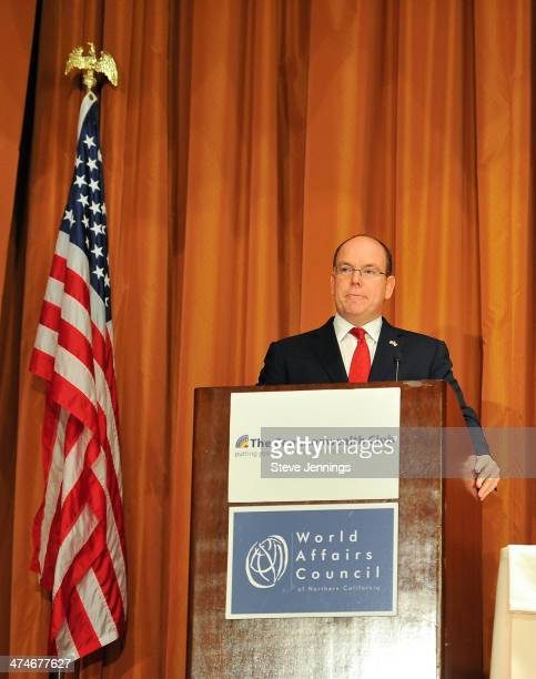 His Serene Highness Prince Albert II of Monaco speaks to the Commonwealth Club audience at the International Mark Hopkins Hotel on February 24 2014...