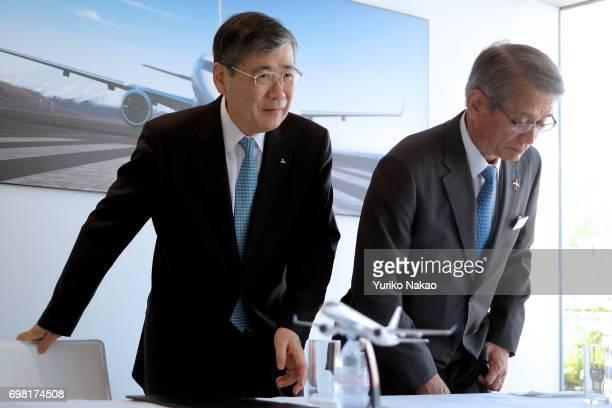Hisakazu Mizutani and Mitsubishi Aircraft Corporation's president Shunichi Miyanaga Mitsubishi Heavy Industries' President and Chief Executive...